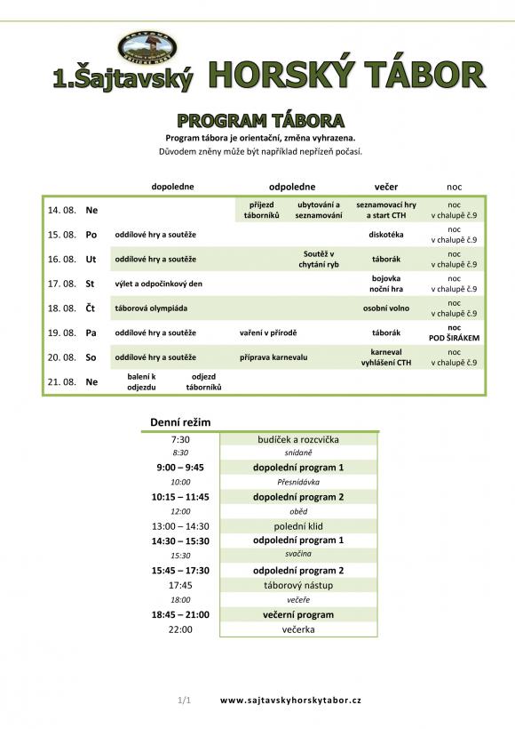HORSKY TABOR program 2016