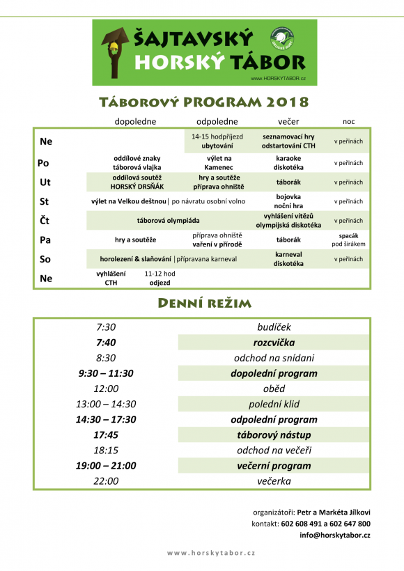 HORSKYtabor 2018 program