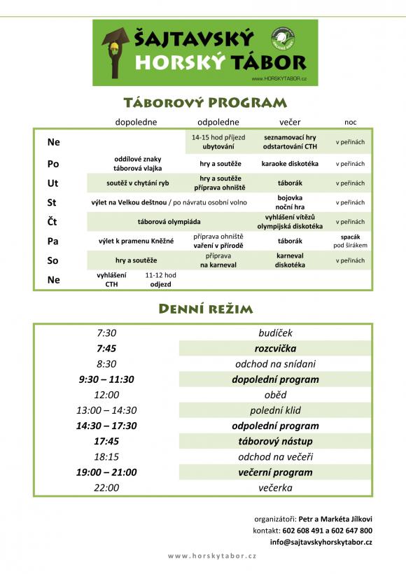 Program tábora 2017
