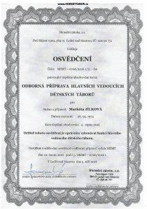 Certifikat Marketa Jilkova HLAVNI VEDOUCI